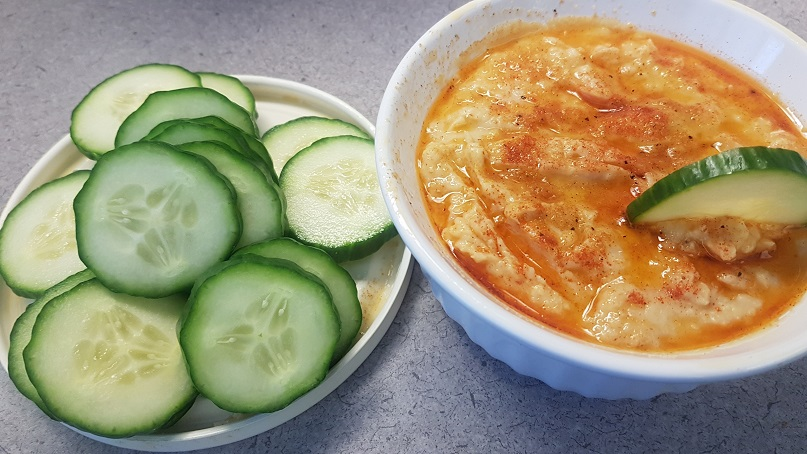hummus and cucumbers