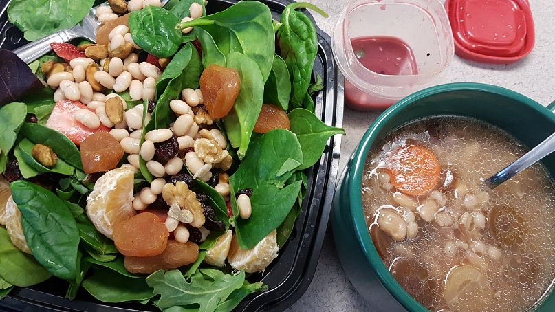 salad and white bean soup