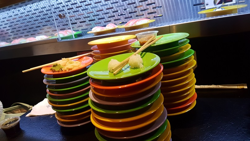 AYCE Sushi wall of plates
