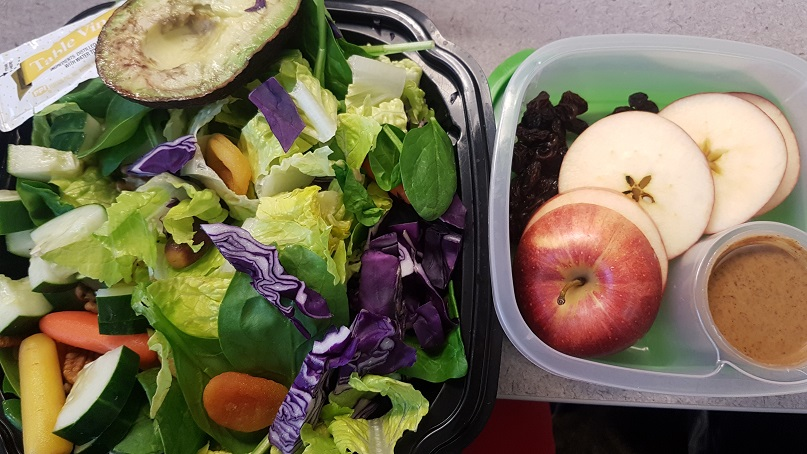 giant salad and apple