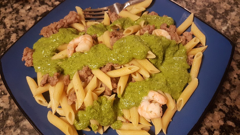 pesto pasta with shrimp and sausage
