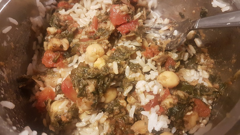 chana saag and rice